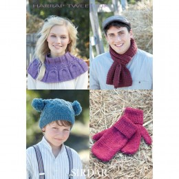 S7398 Mittens,Hat,Scarf and Snood for Men, Women and Children in Sirdar Harrap Tweed