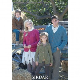 S7399 Cardigans for Men, Women and Children in Sirdar Harrap Tweed