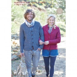 S7490 Cardigans for Men and Women in Hayfield Chunky Tweed
