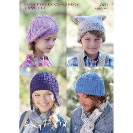 S7491 Cap, Hat, Helmet and Beret for Men, Women and Children in Hayfield Chunky Tweed