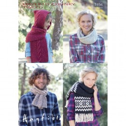 S7494 Scarfs and Snoods for Men, Women and Children in Hayfield Chunky Tweed