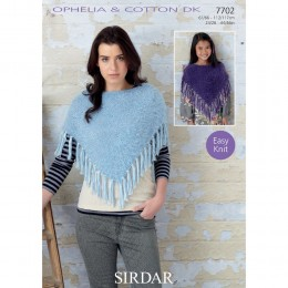 S7702 Poncho for Women and Girls in Sirdar Cotton DK