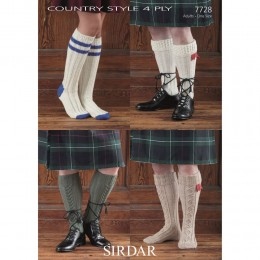 S7728 Socks for Men and Women in Sirdar Country Style 4 Ply