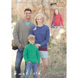 S7729 Sweater for Men, Women and Children in Hayfield Bonus Aran with Wool