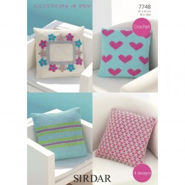 S7748 Crochet Cushion Covers in Sirdar Cotton 4 Ply
