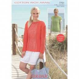S7751 Sweater and Top for Women in Sirdar Cotton Rich Aran