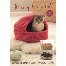S7804 Crochet Cat Basket and Nest in Hayfield Super Chunky with Wool