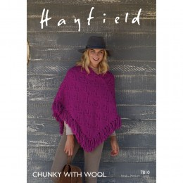 S7810 Poncho for Women in Hayfield Chunky with Wool