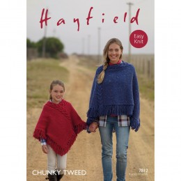 S7812 Poncho for Women and Girls in Hayfield Chunky Tweed