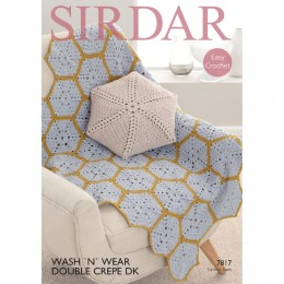 S7817 Crochet Throw and Cushion Cover in Sirdar Wash'n'Wear Crepe DK
