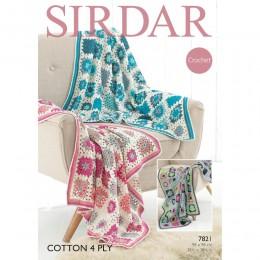 S7821 Crochet Throw in Sirdar Cotton 4 Ply