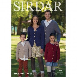 S7831 Cardigans for Men and Women in Sirdar Harrap Tweed DK
