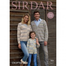 S7835 Cardigans for Men, Women and Children in Sirdar Crofter DK