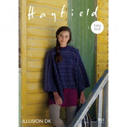S7855 Poncho for Women in Hayfield Illusion DK