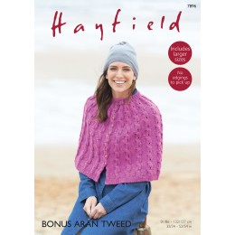 S7896 Cape for women in Hayfield Aran Tweed
