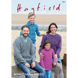 S7897 Jumpers for the entire family in Hayfield Aran Tweed