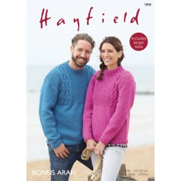 S7898 Jumper for men and women in Hayfield Bonus Aran