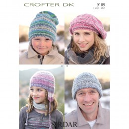 S9189 Beret and Hats for Men, Women and Children in Sirdar Crofter DK