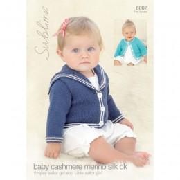 SU6007 Baby Sailor Girl Cardigan Baby Cashmere Merino Silk DK