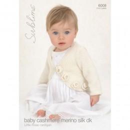 SU6008 Baby Girl Rose Cardigan Baby Cashmere Merino Silk DK