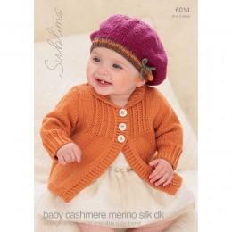 SU6014 Baby Vintage Cardigan and Beret Baby Cashmere Merino Silk DK