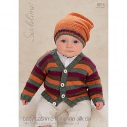 SU6016 Baby Cardigan and Hat Baby Cashmere Merino Silk DK