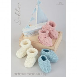 SU6101 Baby Shoes and Booties Baby Cashmere Merino Silk DK