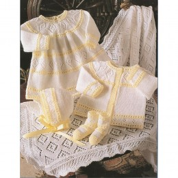 St4163 Baby Dress, Cardigan, Bonnet, Booties and Shawl Baby 4ply