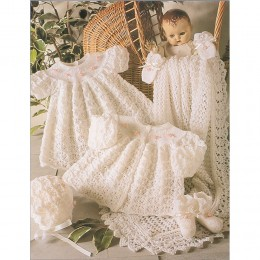St4165 Baby Dress, Cardigan, Bonnet, Booties and Shawl Wondersoft 3 ply
