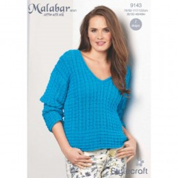 St9143 Ladies Cable Vest and Jumper Malabar Aran