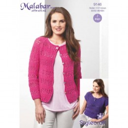 St9146 Ladies Cardigan and Eyelet Tee Malabar Aran