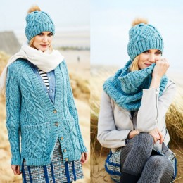 St9554 Cardigan, Snood & Hat in Stylecraft Special Aran With Wool