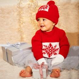 St9576 Baby's Snowflake Sweater, Hat & Mittens in Stylecraft Wondersoft Stardust DK