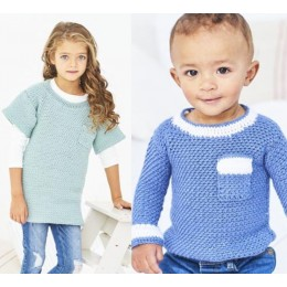 St9609 Crochet Woven Sweater & Tunic for Children from 0 to 7 Years in Stylecraft Bambino DK