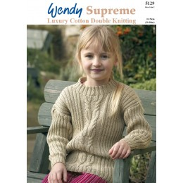 TRW5129 Children's Cable and Ribbed Jumper DK