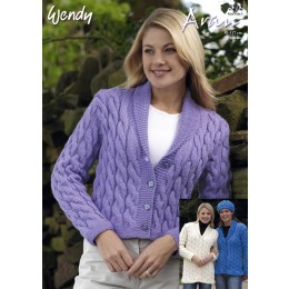 TRW5202 Adult Cable Cardigans Aran