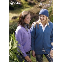 TRW5209 Adults Cardigan and Hat Aran