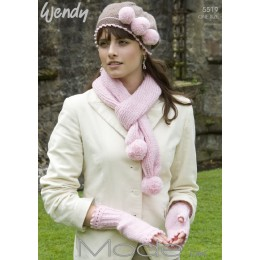 TRW5519 Ladies Scarf, Hat and Mittens DK