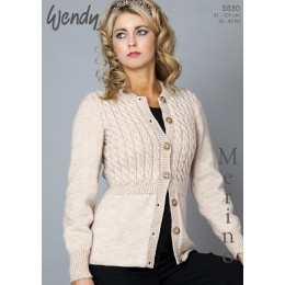 TRW5530 Ladies Cable Cardigan DK and Chunky