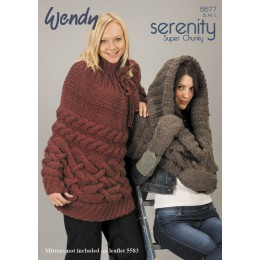 TRW5577 Ladies Poncho and Cape Wendy Serenity Super Chunky