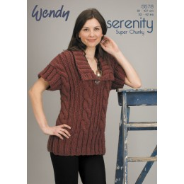 TRW5578 Ladies Cable Short Sleeved Jumper Wendy Serenity Super Chunky