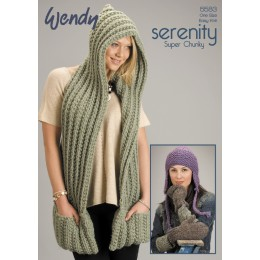TRW5583 Ladies Scarf, Hat and Mittens Wendy Serenity Super Chunky