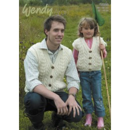 TRW5586 Adult and Children's Cable Waistcoat Wendy Aran with Wool