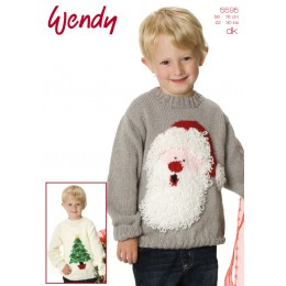 TRW5595 Children's Santa and Christmas Tree Jumpers Christmas Pattern DK