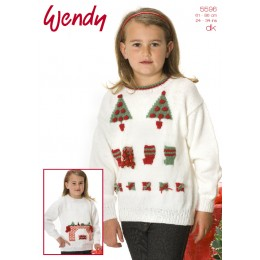 TRW5596 Children's Fireplace and Christmas Tree Jumpers Christmas Pattern DK