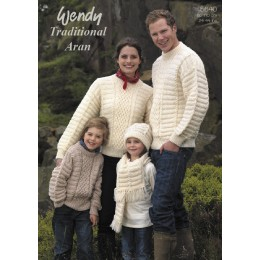 TRW5640 Adult and Children's Jumpers, Scarf and Hat Wendy Traditional Aran