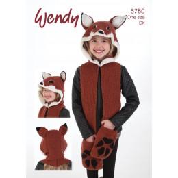 TRW5780 Children's Fox Hooded Waistcoat and Mittens DK
