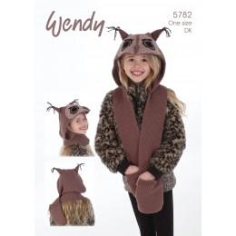 TRW5782 Children's Owl Hooded Waistcoat and Mittens DK