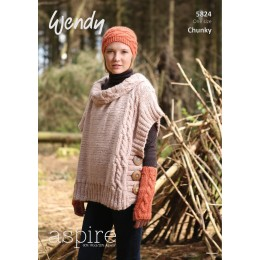 TRW5824 Ladies Poncho, Hat and Mittens Wendy Aspire Chunky