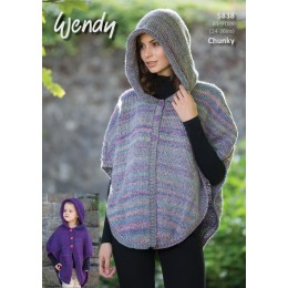 TRW5838 Ladies and Girls Hooded Poncho and Cape Wendy Festival Chunky